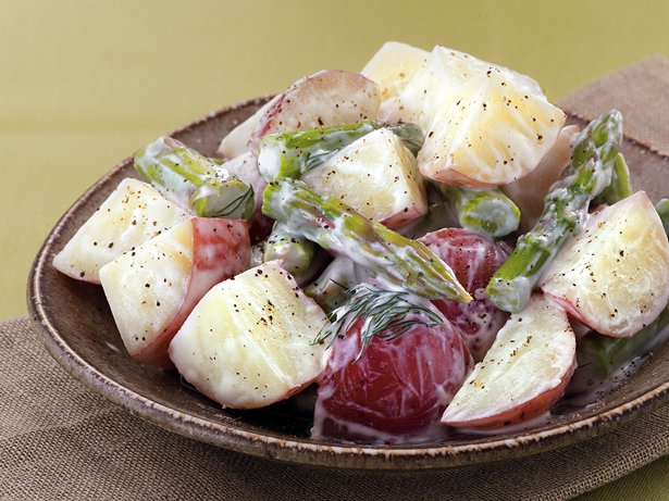 Potatoes and Asparagus with Horseradish Dressing