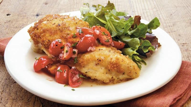 Chicken Milanese with Fresh Tomato Sauce