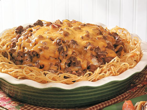 Burger-Bean Spaghetti Pie