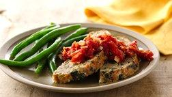 Bacon-Spinach Turkey Meat Loaf with Tomato Jam
