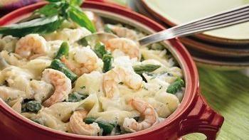 Asparagus, Shrimp and Shells Bake