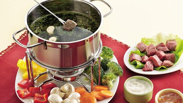 Beef and Chicken Fondue