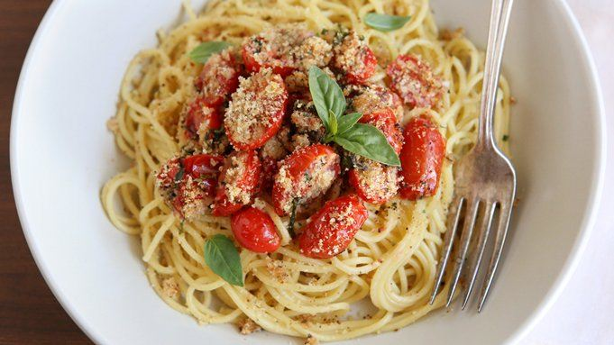 Roasted Tomato-Basil Spaghetti with Bread Crumbs recipe - from ...