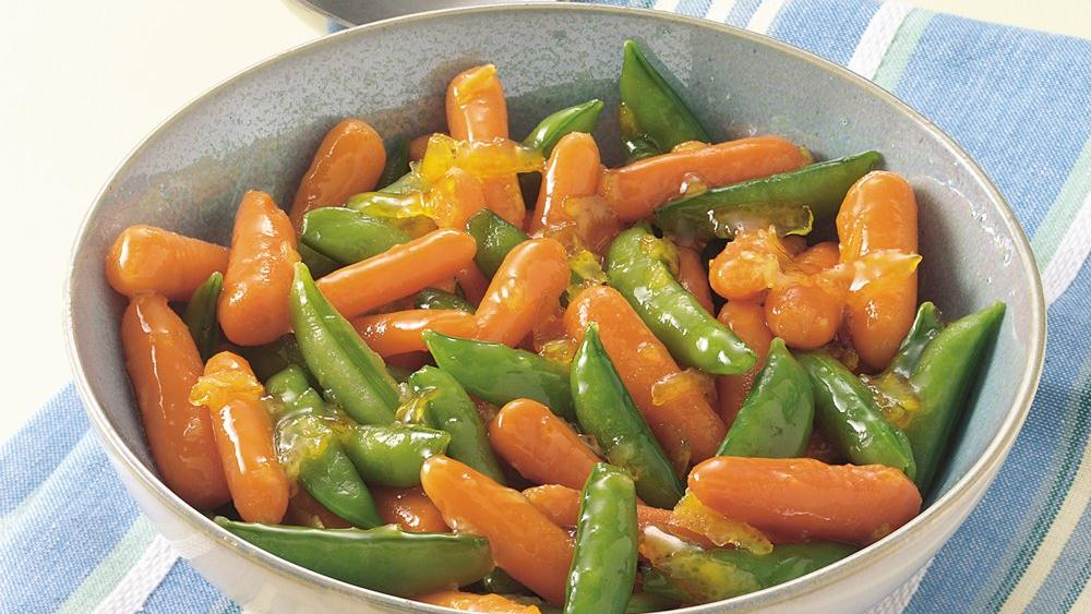Orange-Glazed Carrots and Sugar Snap Peas