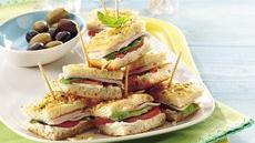 Basil-Turkey Mini Focaccia Sandwiches Recipe