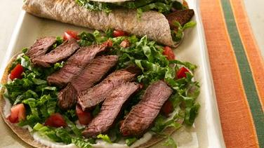 Beef, Lettuce and Tomato Wraps