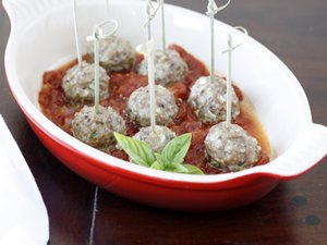 Mozzarella-Stuffed Sausage Meatballs
