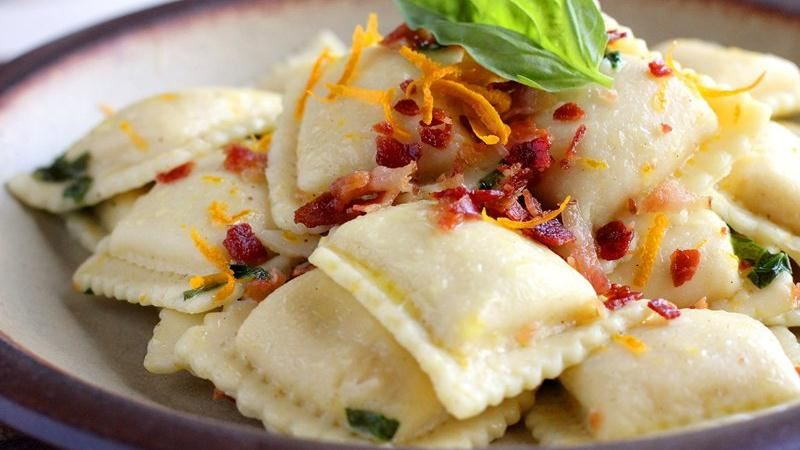 Butternut Squash Ravioli with Orange-Prosciutto Oil