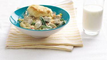 Chicken and Vegetable Biscuits Alfredo