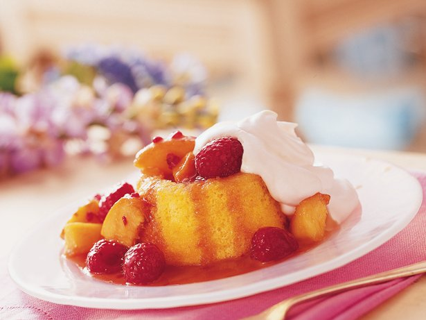 Caramelized Peach and Raspberry Shortcakes