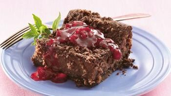 Raspberry Topped Fudgy Cheesecake