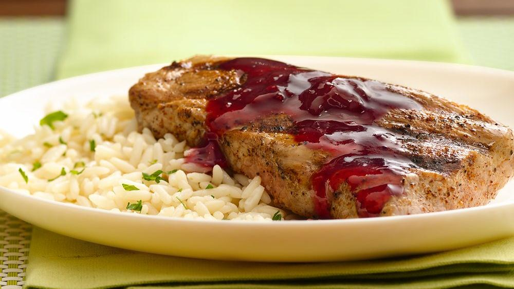 Grilled Pork Tenderloin with Raspberry-Chipotle Glaze recipe from ...