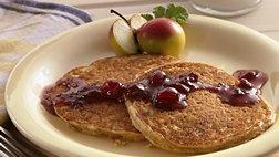 Oatmeal Pancakes with Maple-Cranberry Syrup