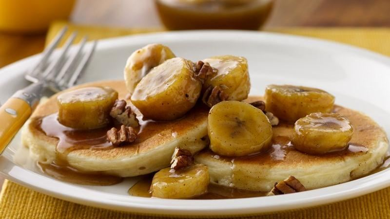 Bananas Foster Pancakes recipe from Betty Crocker