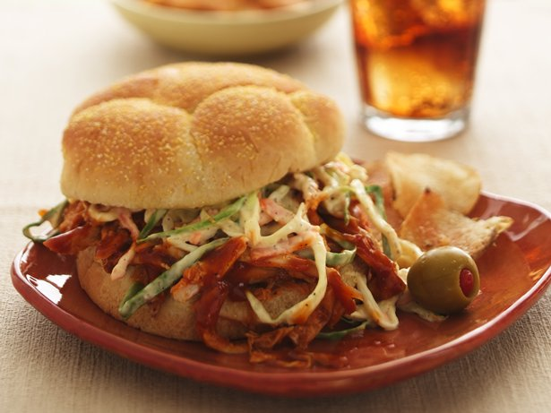 Pulled Chicken Sandwiches with Root Beer Barbecue Sauce