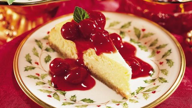 Eggnog Cheesecake with Cherry Sauce
