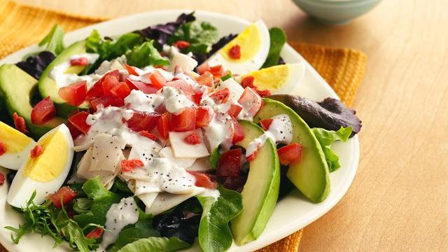 Individual Chicken Cobb Salads with Blue Cheese Dressing