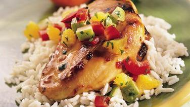 Sweet and Spicy Chicken with Winter Fruit Salsa