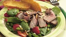 Grilled Beef with Spinach and Strawberry Salad Recipe
