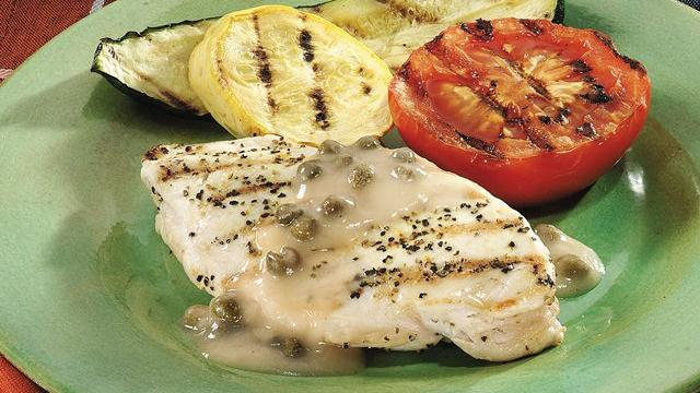 Grilled Chicken with Wine Caper Sauce