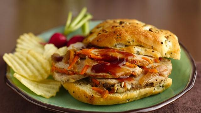 Slow Cooker Sliced Pork BBQ Sandwiches