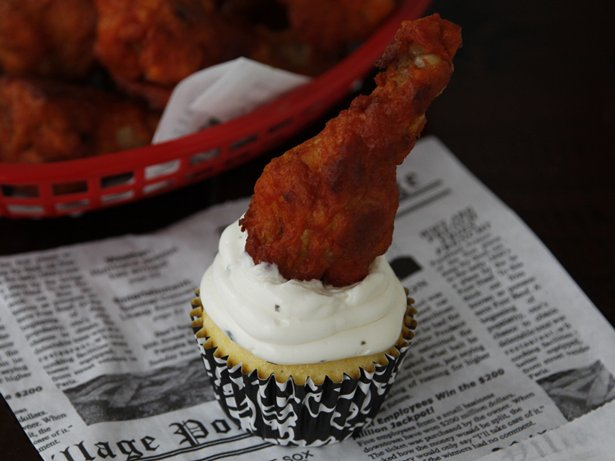 Savory Buffalo Chicken and Cornbread Cupcakes