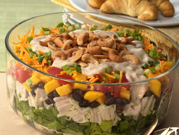Gluten Free Layered Caribbean Chicken Salads
