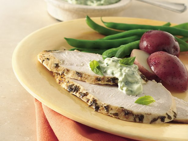 Slow Cooker Garlic-Spiked Turkey Breast with Fresh Basil Mayonnaise