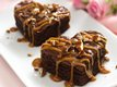 Caramel-Drizzled Brownie Hearts