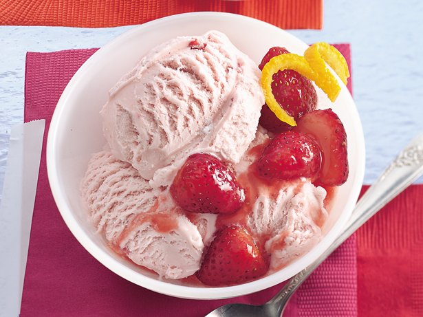 Ice Cream with Marinated Strawberries