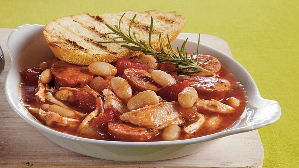 Slow-Cooker Chicken-Sausage-White Bean Stew recipe from Pillsbury.com