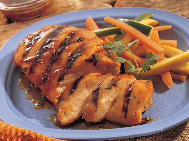 Grilled Apple- and Ginger-Glazed Chicken Breasts
