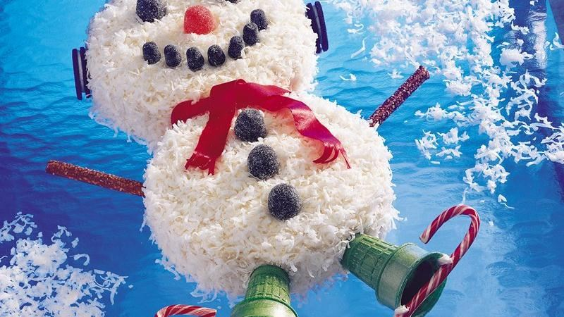 Snowman Coconut Cake recipe from Betty Crocker
