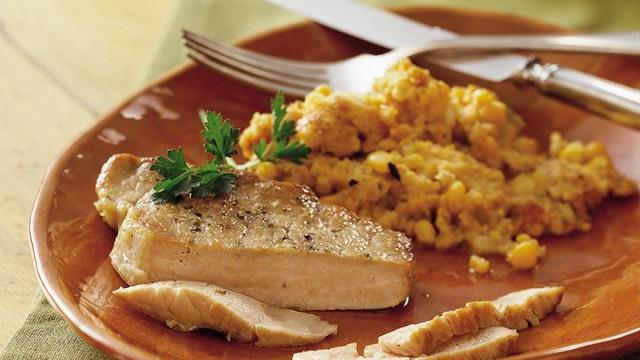 Slow Cooker Pork Chops with Corn Stuffing