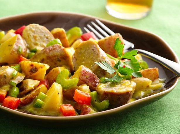 Warm Honey Mustard Potato Salad with Sausages