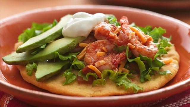 Shrimp Biscuit Tostadas