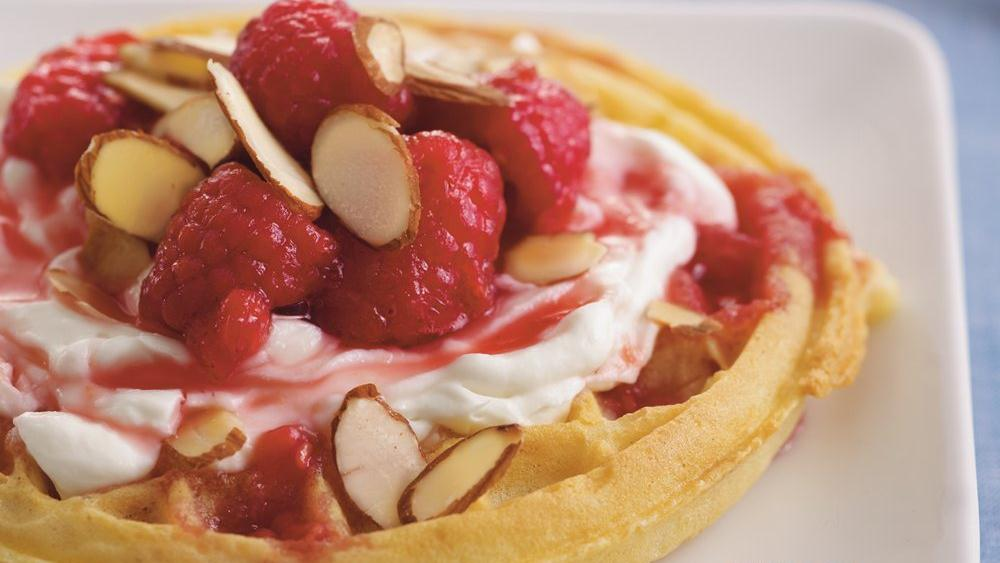 Raspberries and Cream Waffles