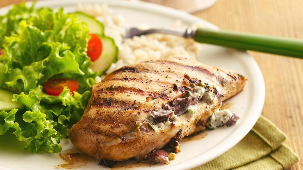 Greek Garlic and Herb-Stuffed Grilled Chicken Breasts
