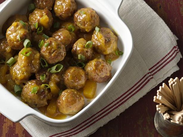 Slow Cooker Curry-Mustard Glazed Meatballs