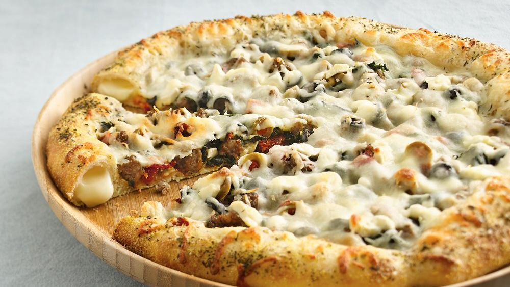 Mediterranean Pizza with Cheese-Stuffed Crust