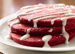Red&#32;Velvet&#32;Pancakes&#32;with&#32;Cream&#32;Cheese&#32;Topping
