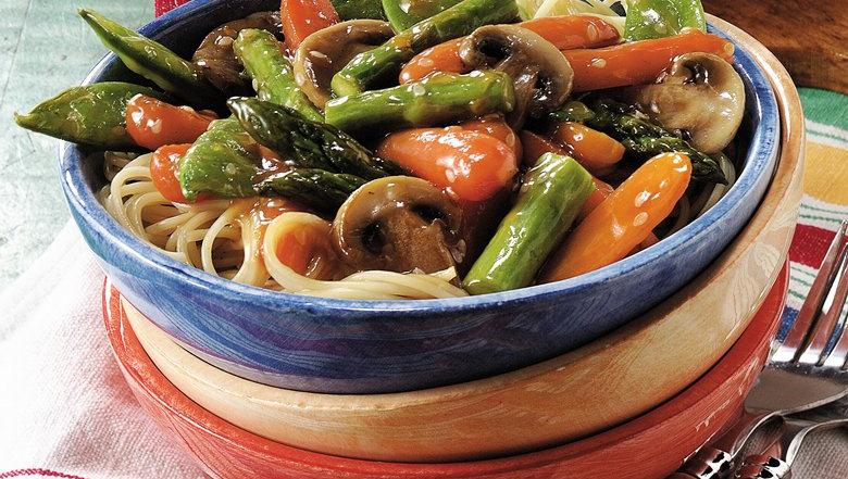 Sesame Vegetable Stir-Fry Over Pasta