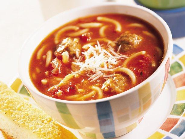 ... meatballs, ready-cut spaghetti and prepared spaghetti sauce, for