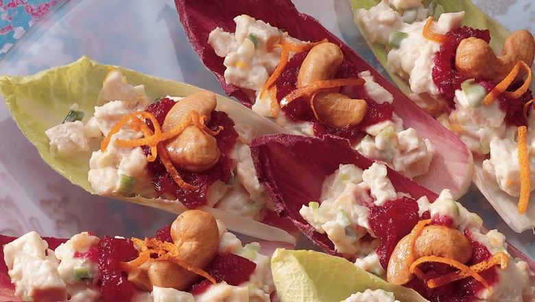 Endive with Cranberry Orange Chicken Salad