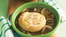 Cheesy Crescent-Topped Onion-Mushroom Soup Recipe
