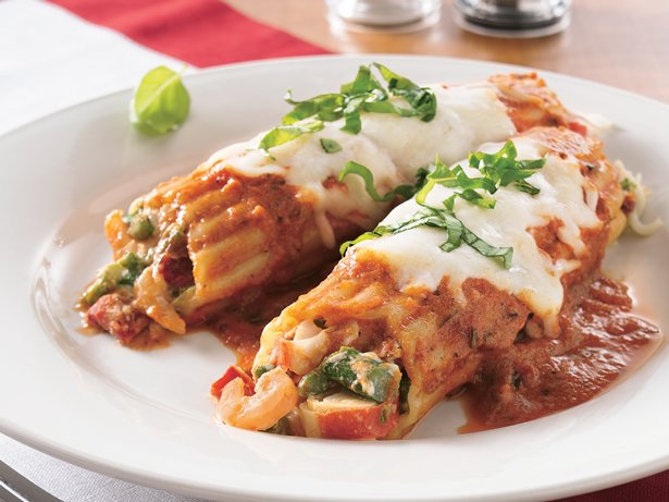 Seafood and Asparagus Manicotti