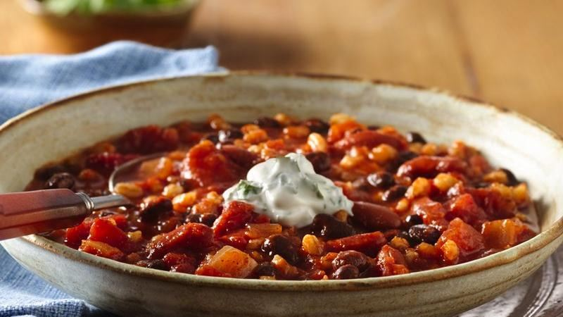 Bean and Barley Chili with Cilantro Sour Cream