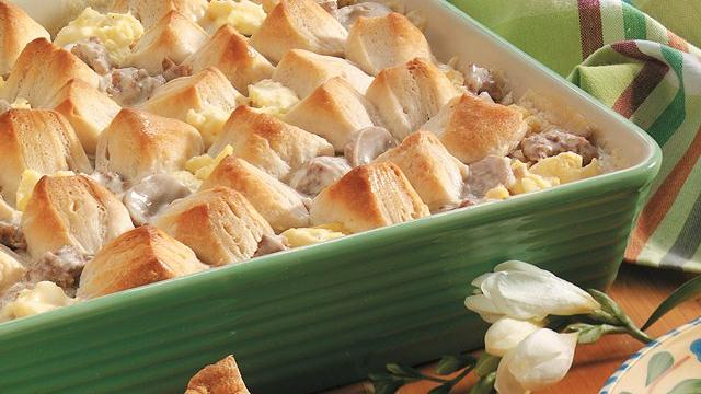 Creamy Sausage Casserole with Biscuits Recipe from Pillsbury.com