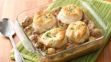 Meatball Stroganoff Biscuit Casserole