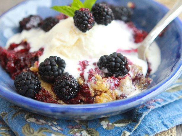 Slow Cooker Sweet Cornbread Blackberry Cobbler